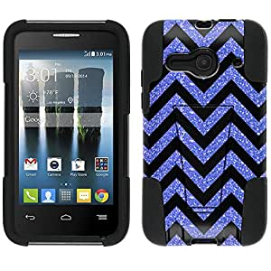 Alcatel One Touch Evolve 2 Hybrid Case Chevron Glitter Blue Black 2 Piece Style Silicone Case Cover with Stand for Alcatel One Touch Evolve 2
