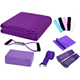LayOPO Yoga Starter Kit - 7 Piece Essentials Beginners Bundle Include Yoga Towel,Yoga Blocks,Yoga Strap,Stretch Band,Yoga Sock,Yoga Head Band,Spring Cable,Purple