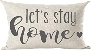 ramirar Grey Word Art Quote Let's Stay Home Love Gift for Family Lover Decorative Lumbar Throw Pillow Cover Case Cushion Home Living Room Bed Sofa Car Cotton Linen Rectangular 12 x 20 Inches