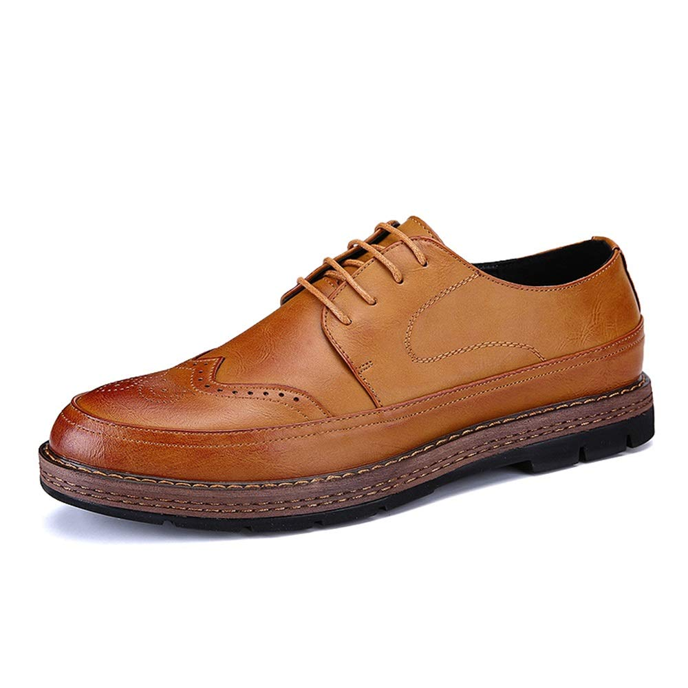 Light Brown XIANGBAO-Personality Men's Fashion Oxford Insouciant Easy Outsole Classic Carving British Style Brogue shoes