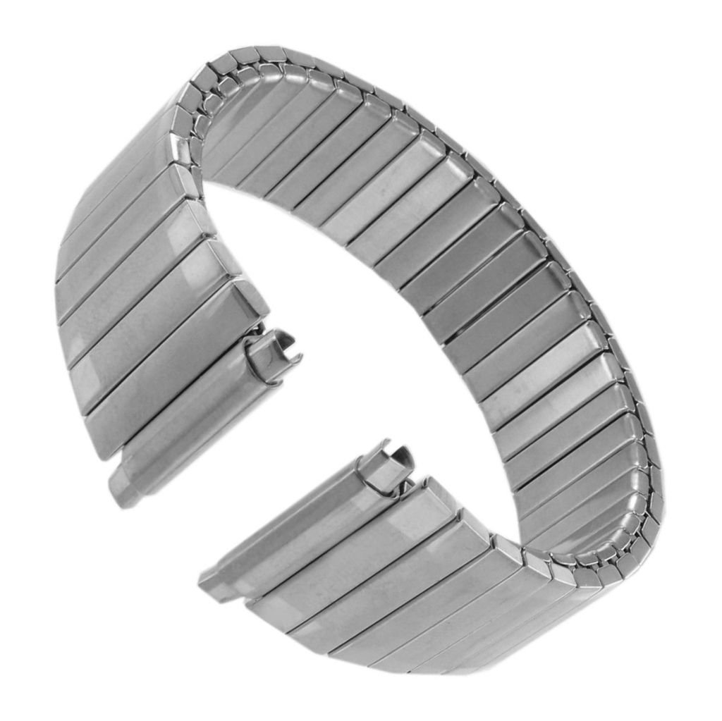 Men's Stainless Steel Stretch Watch Band, Flex Radial Expansion Replacement Strap, (16mm,17mm,18mm,19mm,20mm,21mm) Straight End, No Clasp - SS by United Watchbands