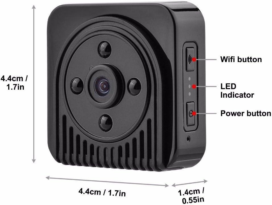 POIIUYY Mini cámara inalámbrica H.264 720P HD WiFi IP Dv Cámara infrarroja de visión Nocturna Micro Camera Wide Angel 150 Degree Mini Camcoeder-Agregar Tarjeta de 32G TF