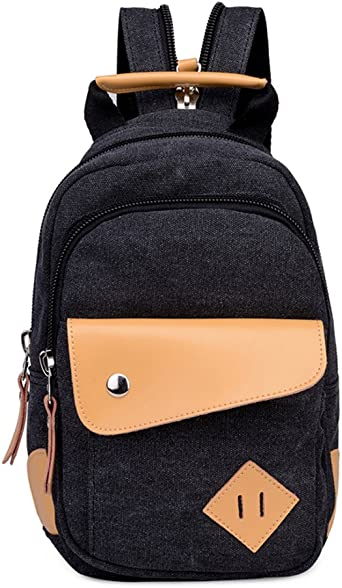 Topsung Leather Canvas Mini Backpack Black