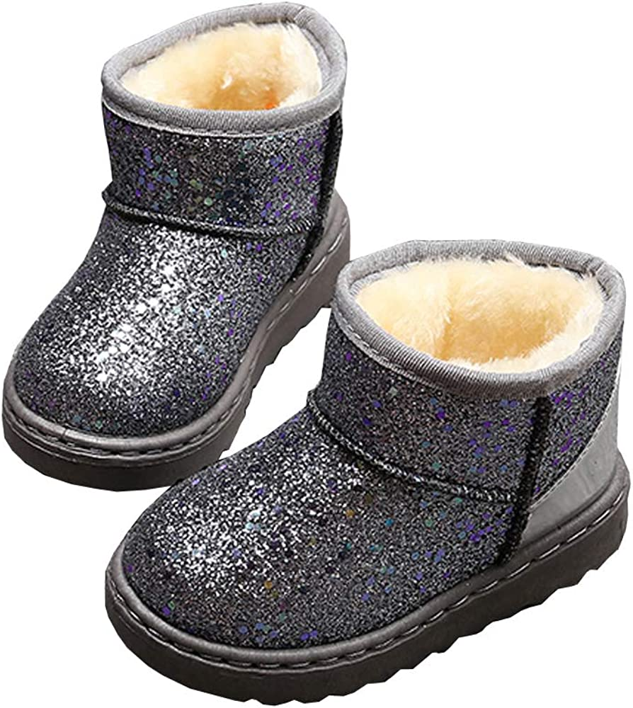 SOFMUO Boys Girls Plush Hiking Snow Boots Sparkly Waterproof Booties Warm Winter Shoes Toddler//Little Kid