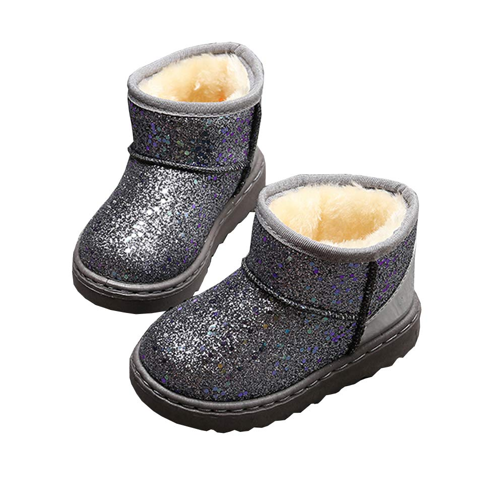 Toddler//Little Kid SOFMUO Boys Girls Plush Hiking Snow Boots Sparkly Waterproof Booties Warm Winter Shoes