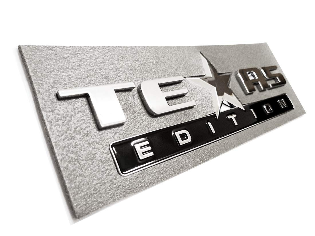 2pcs Texas Edition Emblem Strong Stick On Emblem Badge Replacement for Chevrolet Sierra 07-17 Silverado and Suburban Tahoe Ford F150 Dodge Ram Nissan Titan Truck