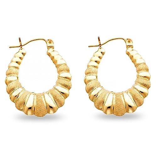 Amazon Com Solid 14k Yellow Gold Shrimp Hoop Earrings Hollow Satin