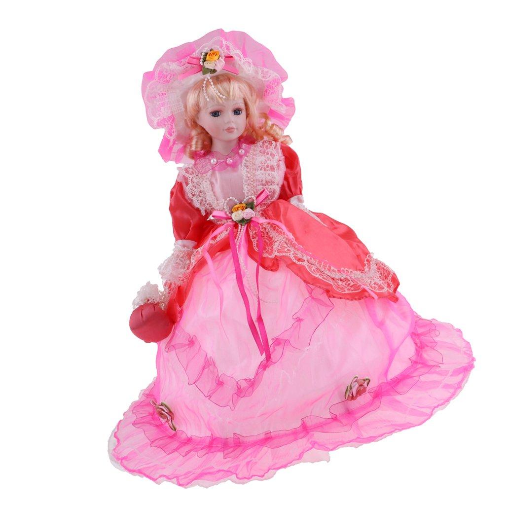 MagiDeal Poupée en Porcelaine de 45cm en Robe Imprimée+ Chapeau- Girls Toys - Rouge
