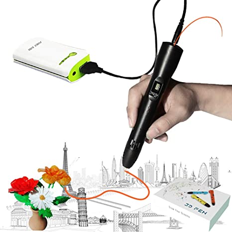 KT-PRASE 3D Pen for Kids ,Newest 3D Printing Pen Compatible ABS PLA Filament, Portable 3D Printer Drawing Pen LCD Screen Supports Mobile Power (Black)