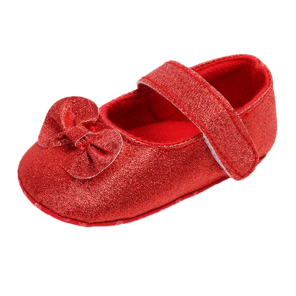 Muium Toddler Infant Baby Solid Bling Bowknot Shoes Newborn Girls Casual First Walker Shoes for 0-15 Months