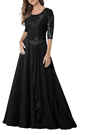 58c9c5d4f37 Pretygirl Womens Lace Chiffon 1 2 Sleeve Mother of Bride Dress A-line Prom