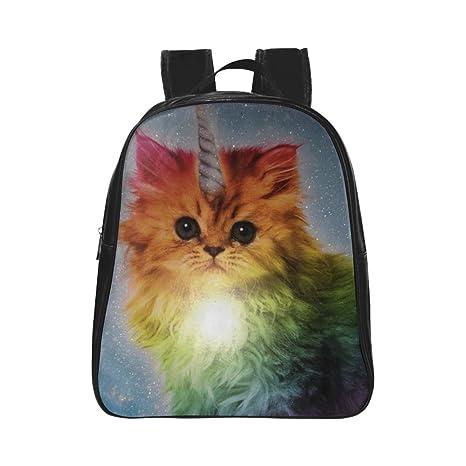 kitchor mochila de imagen personalizada unicorn Rainbow gato blanco escuela bolsas (tamaño grande) (