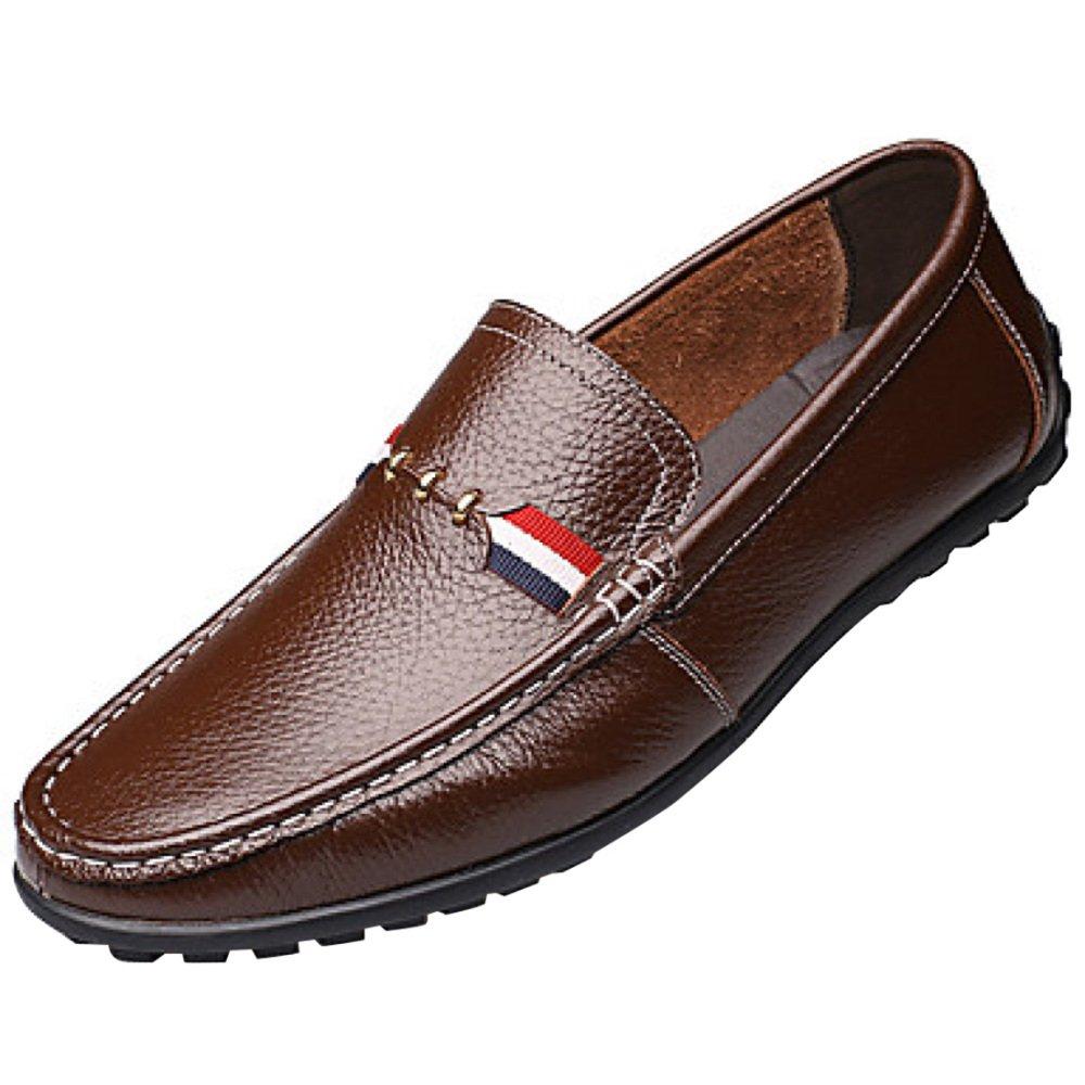 Zapatos Perezosos De Los Hombres Zapatos De Conducción Cómodo Transpirable Moda Blanco Negro Marrón 42EU/9US Brown