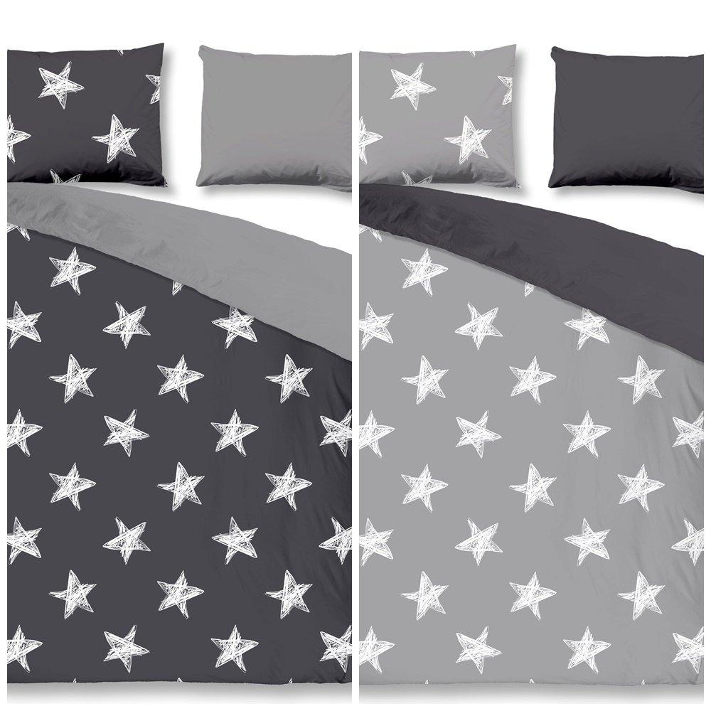 Aminata – Sternen Bettwäsche grau 135x200 cm Baumwolle + Reißverschluss Sterne Anthrazit hellgrau Weiß Sternchen Stars Wendebettwäsche Bettbezug 2-teiliges Bettwäscheset Bezug Ganzjahr Normalgröße