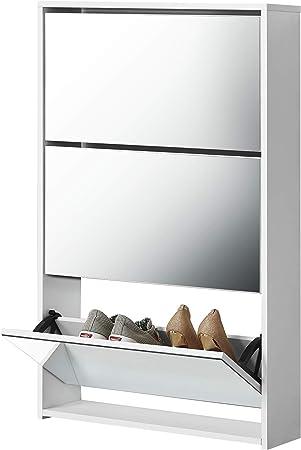 en.casa] Zapatero con Espejo 102,5 x 63 x 17 cm Mueble Zapatero Organizador de Zapatos Blanco: Amazon.es: Hogar
