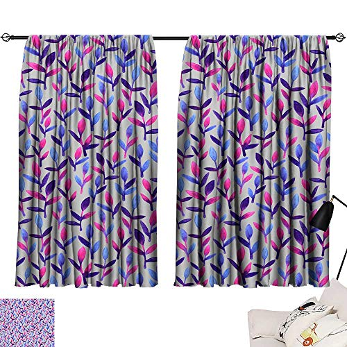 backdrop curtain Simple and cute floral seamless pattern Pink blue and violet spring leaves hand painted with watercolor Nature drawing leaf on grey background Art bright backdrop wallpaper Beautiful