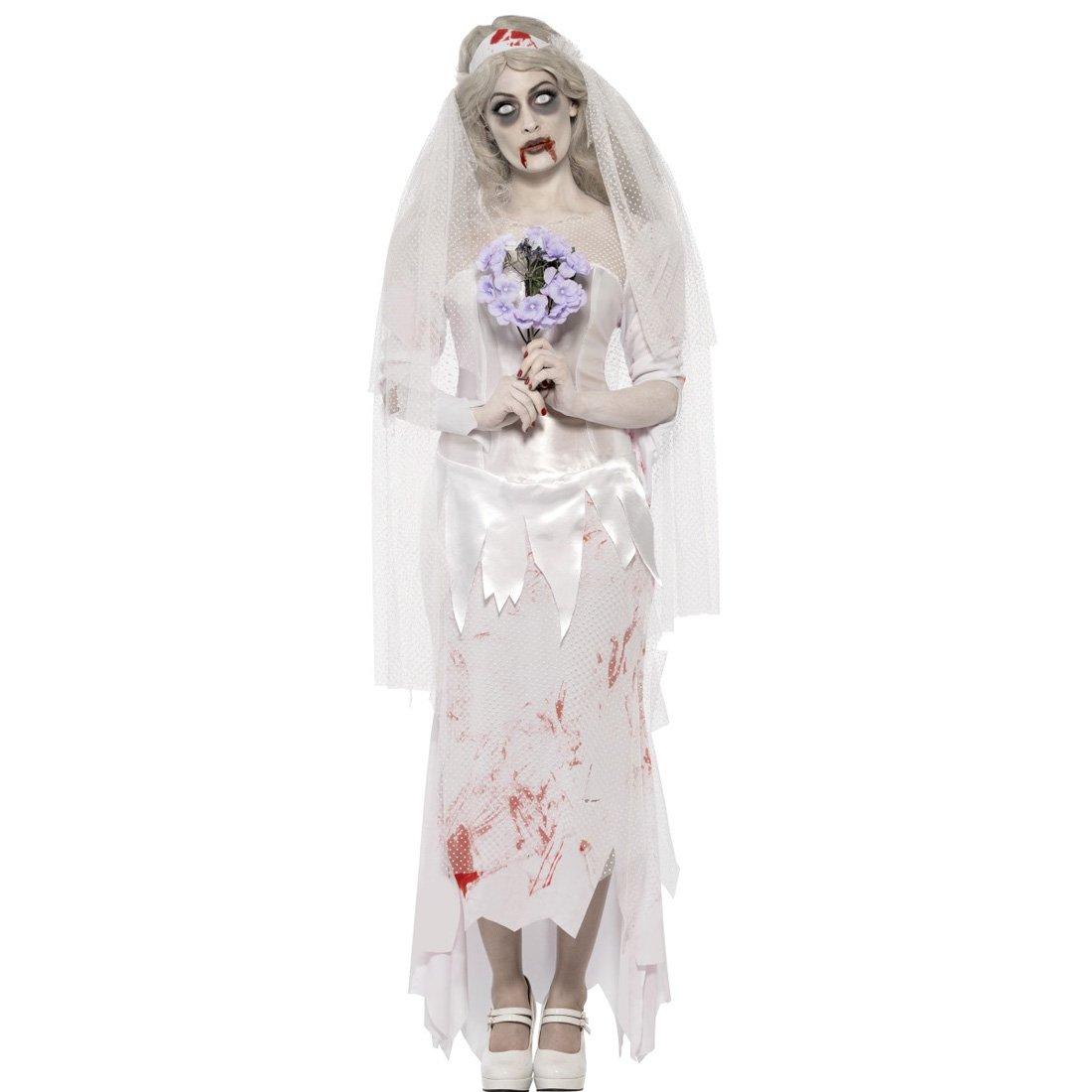 Amakando Geisterbraut Zombiekostüm Zombiebraut Kostüm S 36/38 Halloweenkostüm Braut Horrorbraut Karnevalskostüm Frauenkostüm Halloween Horror Damenkostüm Gothicbraut