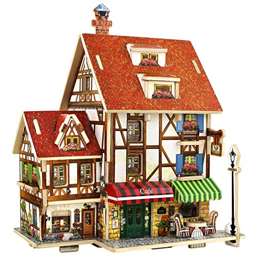 Educational 3D Wood Houses Puzzle Kids Wooden Toy House Coffee Lodge House Home Puzzle Model House (Necklace Dollar Sign Jumbo)