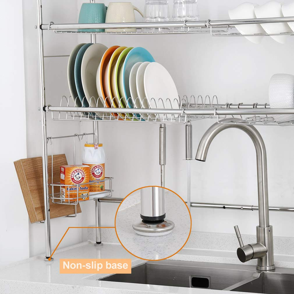 NEX 2-Tier Drying Rack for Kitchen Stainless Steel Dish Dryer Length Adjustable, Silver by NEX (Image #4)