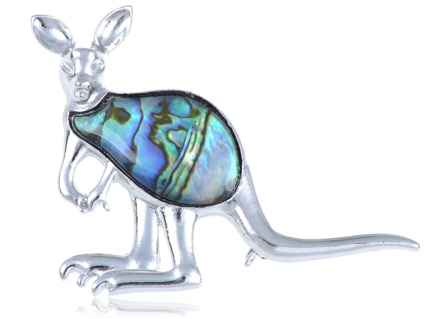 Alilang Silvery Tone Abalone Colored Stone Kangaroo Joey Brooch Pin
