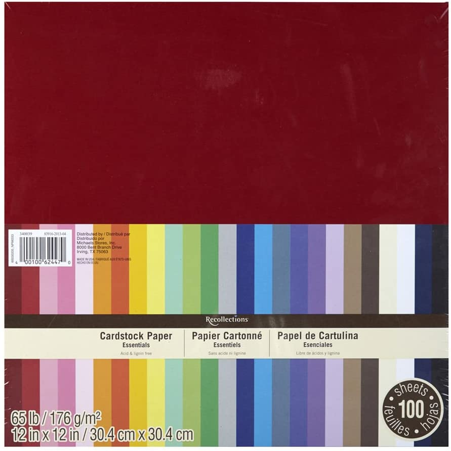Recollections Essentials 12 inch x 12 inch 100 Sheets of Cardstock Paper