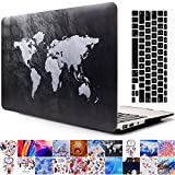 2013-2015 Ver MacBook Pro Retina 15'' Case and Keyboard Cover, AICOO YCL 2-in-1 Beautiful Hard Case Cover With Keyboard Skin Protector For MacBook Pro Retina 15.4 inch A1398, Black map