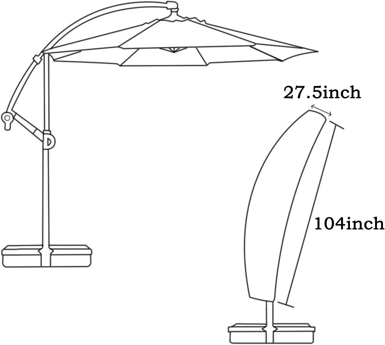 210D Heavy Duty Waterproof Oxford Cantilever Banana Umbrella Protector LEESITEC Garden Parasol Cover Garden Patio Sun Umbrella Cover black