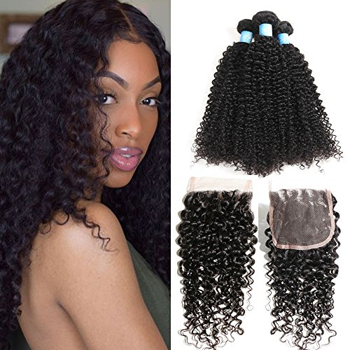 BLY Human Hair Bundles with Closure- 7A Mongolian Virgin Kinky Curly Hair Extensions 3 Bundles with Lace Closure Unprocessed Natural Color(12 14 16+10)