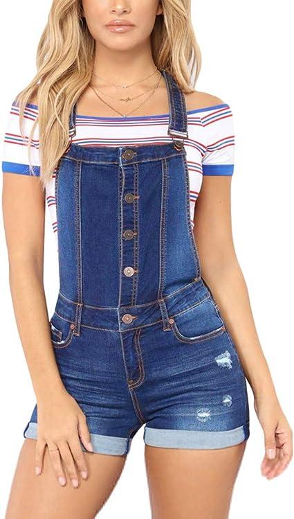 Mujer Peto Vaquero Cortos Talla Grande Mono Jumpsuits Pantalon Corto De Jeans Sin Mangas Bolsillos Amazon Es Ropa Y Accesorios