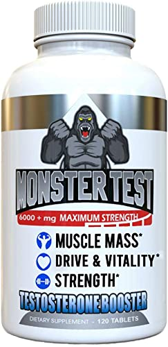 Angry Supplements Monster Test, Testosterone Booster, 5452 mg Cranks T-Levels All Natural Formula made in USA, Gain Muscle Mass, Boost Energy in the Gym and Increase Sex Drive in Bedroom, 1 Bottle