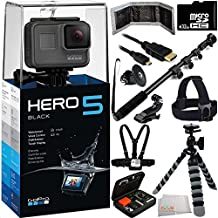 GoPro HERO5 Black 32GB Bundle 12PC Accessory Kit - Includes 32GB microSD Card + Heavy Duty Monopod Selfie Stick + Micro HDMI Cable + Flexible Gripster Tripod + Head Mount + Chest Strap + MORE