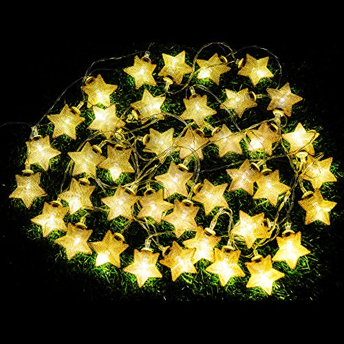 [VOLADOR Pentagram String Light,5M/16.4ft 40 LED Decorative Fairy Starry Light,AA Battery Powered Ambience Lighting for Christmas Wedding Party Halloween New Year Valentine's Day] (Halloween Lighting)