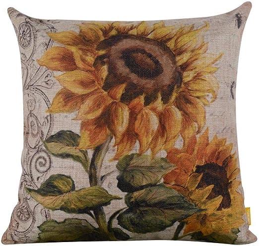 Vintage Plant Pattern Pillow Case Sofa Waist Throw Cushion Cover Home Car Decor