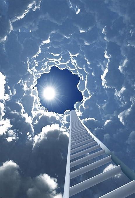 YongFoto 1x1,5m Fondo de Fotografia Cuento Hadas Dreamland Escalera al Cielo Sol Cielo Azul Nube Blanca Fantasía Telón de Fondo Fiesta Niños Boby Boda Retrato Estudio Fotográfico Accesorios: Amazon.es: Electrónica