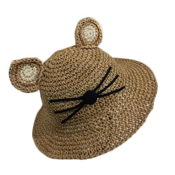 Leisial Sombrero de Paja Playa Gato Lindo Sombrero de Sol Protector Solar  Ocio Deporte al Aire Libre Verano para Niñas Bebé ca74b52f918