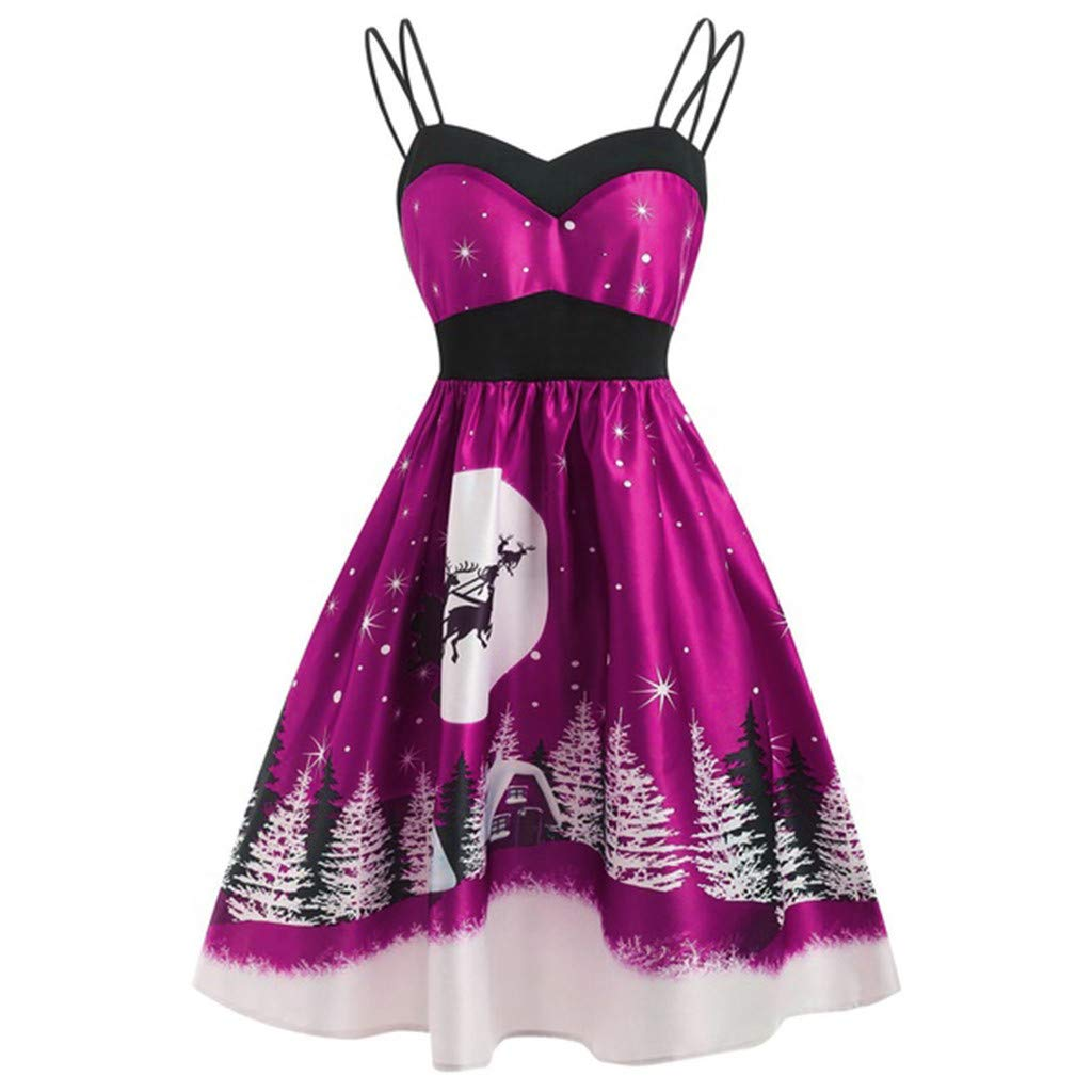 Shusuen_Clothes Women's Plus Size Christmas Halloween Dresses Sleeveless Strap Spaghetti Flared Cocktail Party Dress Hot Pink by Shusuen_Clothes