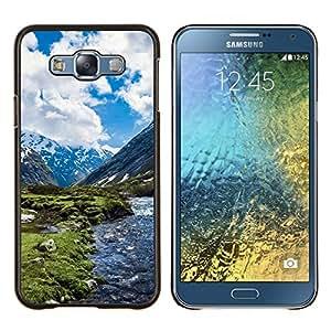 KLONGSHOP // Cubierta de piel con cierre a presión Shell trasero duro de goma Protección Caso - Paisaje de la nieve de la montaña - Samsung Galaxy E7 E700 //