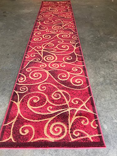Modern Long Abstract Runner Swirl Contemporary Rug Red Black Beige Design Gl23 (2 Feet 4 Inch X 10 Feet 11 Inch)