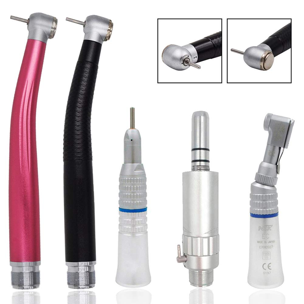 High Low Speed Lab Polishing Tool Combination Suit 2Holes, Air Motor Contra Angle Straight Kit by Denity