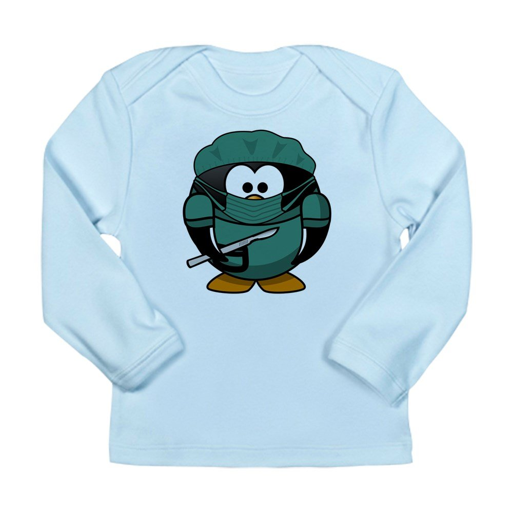 Doctor Surgeon 0 To 3 Months Truly Teague Long Sleeve Infant T-Shirt Little Round Penguin Sky Blue