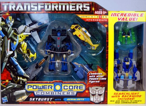 Transformers Power Core Combiners Series Exclusive Robot Action Figure Set - Autobot SKYBURST with 4 Aerialbots (Recon Plane Drone, Combat Helicopter Drone, Chopper Drone and Fighter Jet Drone) Plus Bonus SEARCHLIGHT with Mini-Con BACKWIND by Transformers