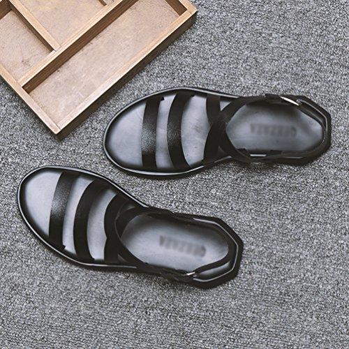 Scarpe Estate Leggero Scivolare Moda su Yujeet Comfort Uomo Open Toe in da Piatto Pelle Vacanza Leisure Spiaggia Sandali Scarpe Nero 6wYqT1wz