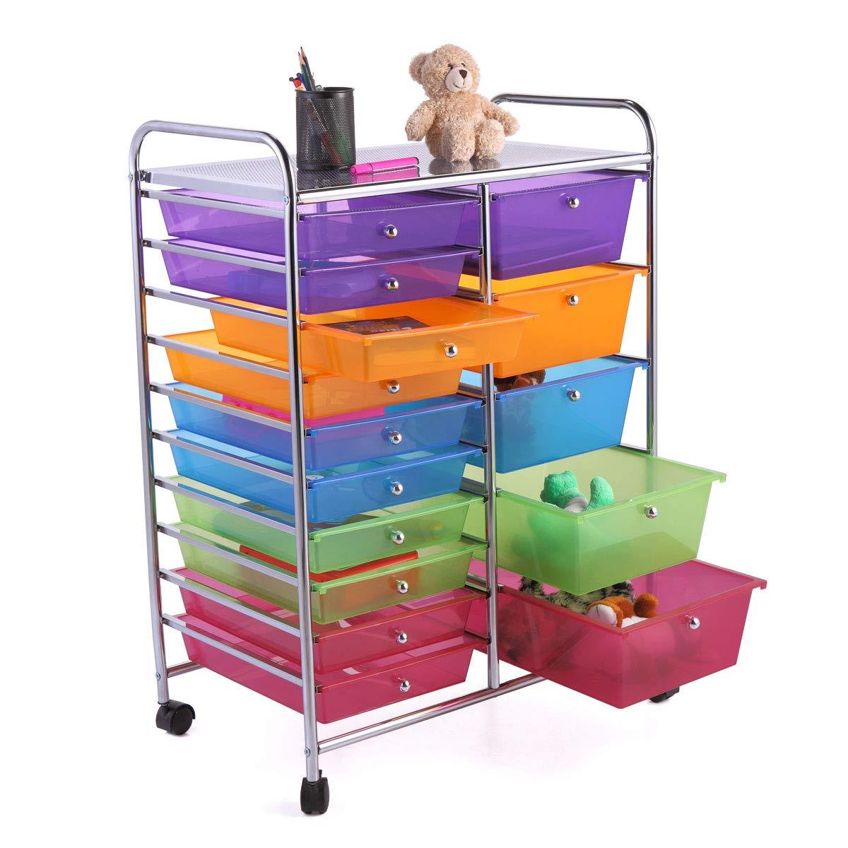 JAXPETY Rolling Storage Cart w/15 Drawers Metal Rack Kids Shelf Home Office School Salon by JAXPETY