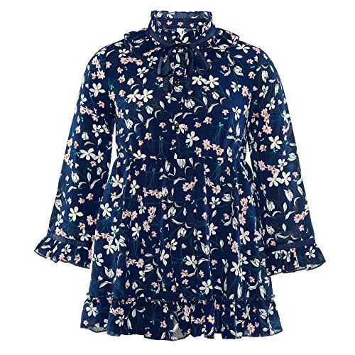 Ruffled Charm Skirt (ISPED Kids Girls Toddler Children Dress Floral Pattern Crew Neck Summer Fall Long Sleeve Ruffled Dress YM41 Navy Size 14Y)