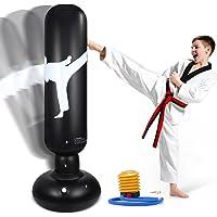 LURNOFY Saco de Boxeo Inflable para Niños, 160cm Saco de Boxeo de Pie, con Bomba de Aire Incluida, para Practicar Karate…