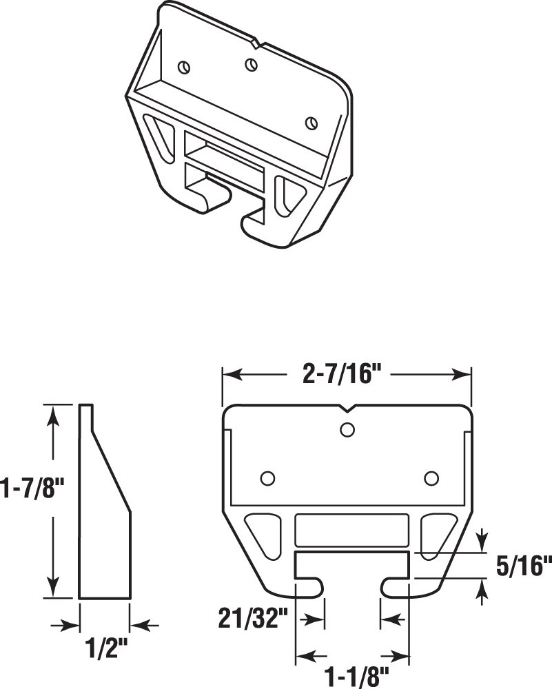 Prime-Line Products R 7221 Drawer Track Guide and Glides,(Pack of 2)