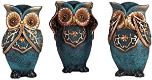 Mixiflor Owl Statue Décor Figurines Set 6 Inch, Owl Statue Home Decor Colorful Collectible Figurine Statue | Animal Decorations for Home Decor, Bedroom Office/Living Room/Bookself/TV Stand Decor