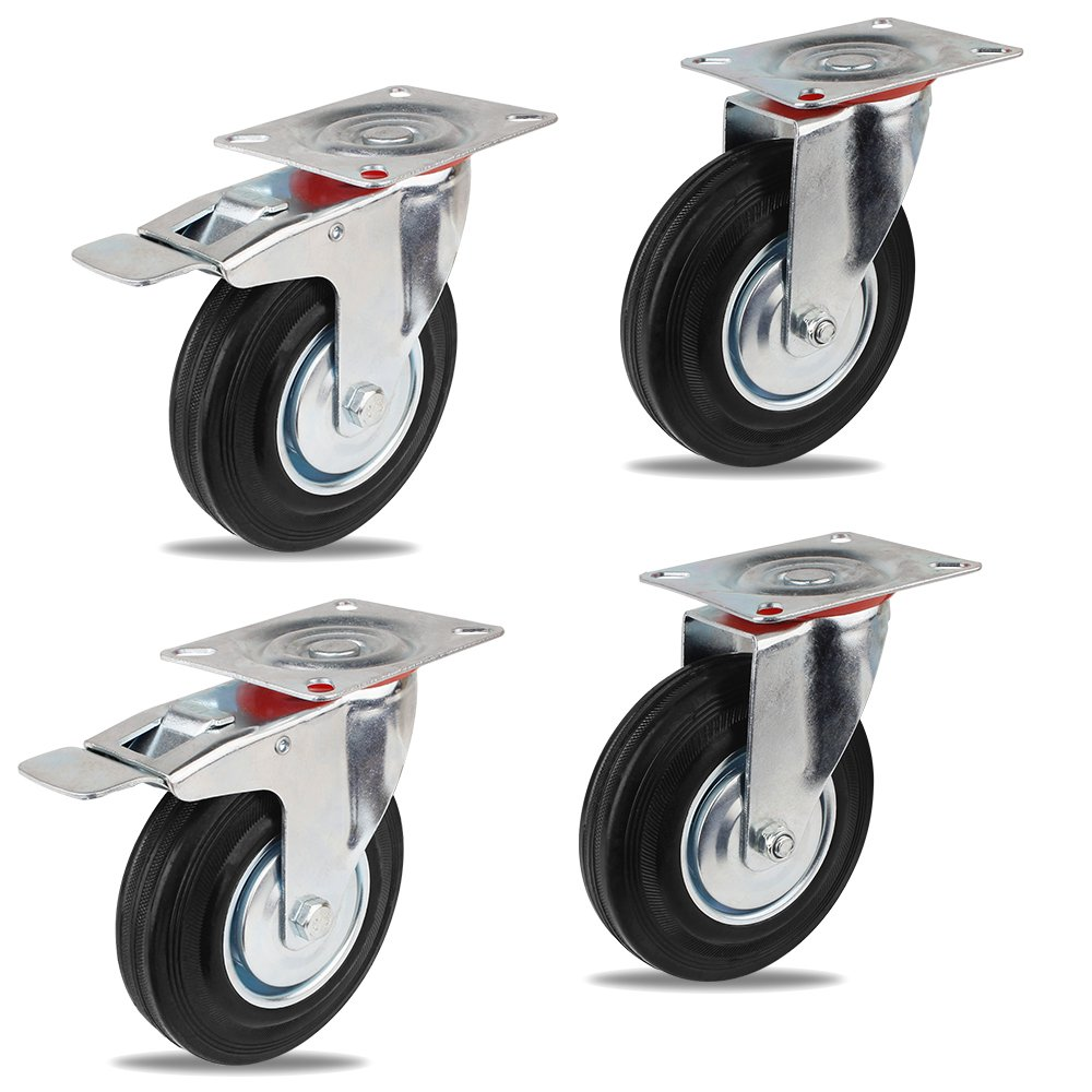 4 x Ø 125 mm Caster Wheels Rubber Swivel Castor Wheels Trolley Furniture Caster Castors Heavy Duty (Swivel Castor&Braked Castor, Maximum Load 100 KG per Caster Wheel) Product ID: 746060384215 YAOBLUESEA