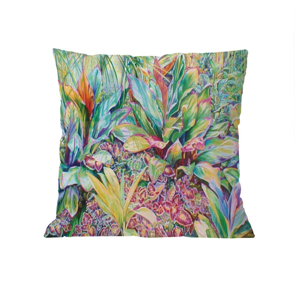 GIVEKI Housse de Coussin de style europ/éen Beautiful Flowers Printed Cotton Linen Decorative Pillow Cushion Cover 45x45cm