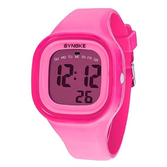 Malloom® 2015 moda natación reloj deportivo silicona digital LED impermeable unisexo reloj Rosa: Amazon.es: Relojes